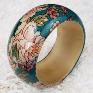 Floral Fabric Covered Wood Bangle Bracelet